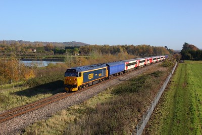 50049 leads 50007 on 5Z51 Long Marston to Newport Docks at Lower Moor on 4 November 2020  Class50, GBRf, CotswoldLine