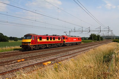 90026+92015 0A06 Crewe EMD to Wembley at Grendon on the 15th July 2013