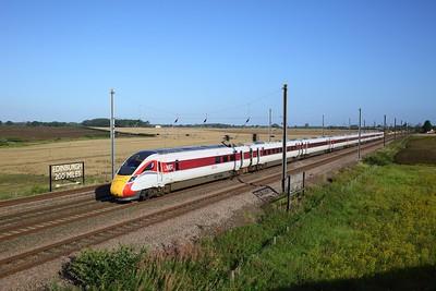 801202 working the 1E02 0548 Edinburgh to London Kings Cross at Overton on 20 August 2020  LNER, Class801, ECMLYork, ECML