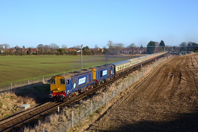 20305 leads 20302 on the 1Z49 Bristol Temple Meads to Leeds via York and the Harrogate loop depart Poppleton on the 18th January 2020