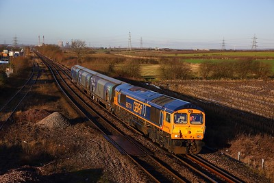66774 on the 4Z86 0928 Milford West Sidings to Drax at Whitley Bridge on the 18th January 2020
