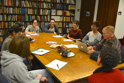 Meeting with students in the grad student bullpen