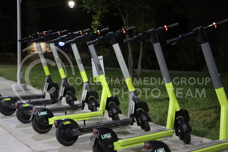 Link Scooters parked by Wefald and Goodnow (Benjamin Voller   Collegian Media Group)