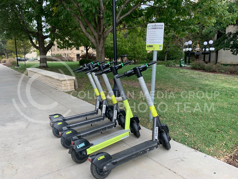 Link Scooters parked by Bluemont (Benjamin Voller   Collegian Media Group)
