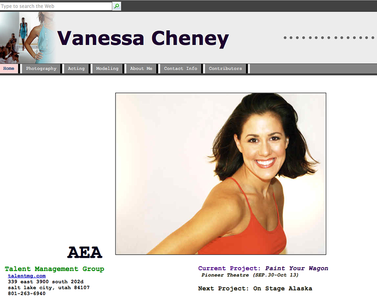 "<a href=""http://www.vanessacheney.com"">Vanessa</a> is one of my photographer and actress buddies.  She does a lot of performing at Pioneer, and also works for the Holland America cruise line.  She is a headshot and model photographer based in Salt Lake.  http://www.vanessacheney.com"