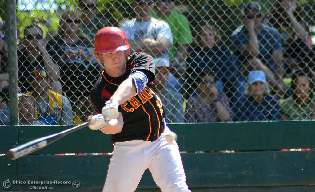 . Chico\'s Dalton Smith squares up and hits a single past the shortstop in the Lions All-Star baseball game Saturday, June 10, 2017, at Doryland Field in Chico, California. (Dan Reidel -- Enterprise-Record)