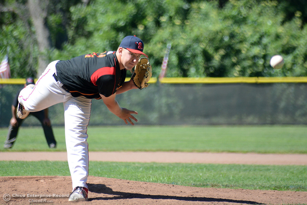 . Chico\'s Dalton Smith pitches for the South team during the Lions All-Star baseball game Saturday, June 10, 2017, at Doryland Field in Chico, California. (Dan Reidel -- Enterprise-Record)