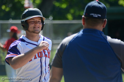Las Plumas' Ethan Potes smiles at the first-base coach as he takes first after being hit by a pitch in the Lions All-Star baseball game Saturday, June 10, 2017, at Doryland Field in Chico, California. (Dan Reidel -- Enterprise-Record)
