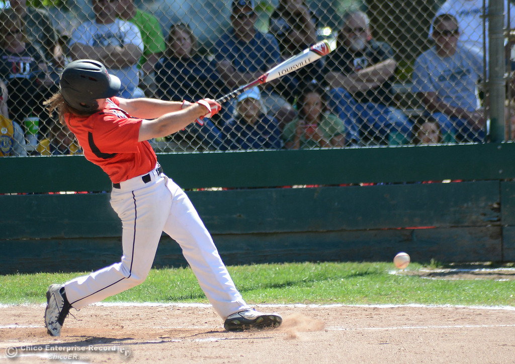 . Foothill\'s Jordan Akins makes contact and reaches base in the Lions All-Star baseball game Saturday, June 10, 2017, at Doryland Field in Chico, California. (Dan Reidel -- Enterprise-Record)