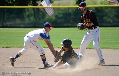 Hamilton's Armando Leal, left, tags out sliding Enterprise runner Jacob Gilbreath with Leal's South teammate Ty Brogden, right, backing him up in the Lions All-Star baseball game Saturday, June 10, 2017, at Doryland Field in Chico, California. (Dan Reidel -- Enterprise-Record)