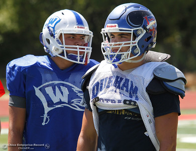 Durham High's Noah Poblano, right, and Alex Sheperd from Wheatland during the Lions All-Star South team practice Tuesday June 13, 2017 at Chico High School in Chico, California. (Emily Bertolino -- Enterprise-Record)