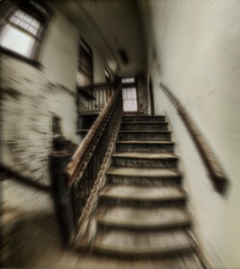 Pennhurst Stairs_Panorama1f blur in PS to simular disorietation at insane asylum