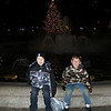 Boys in front of the Stuyvesant Oval fountain