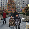 Boys in front of the tree at Rockefeller Center