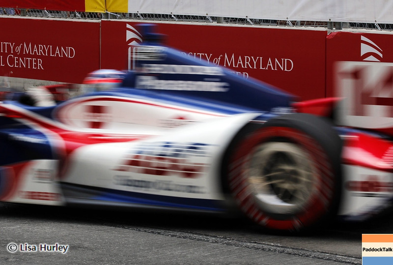 August 31: Takuma Sato during IndyCar qualifying for the Grand Prix of Baltimore.