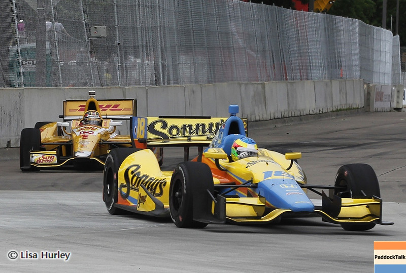 June 1: Mike Conway leads Ryan Hunter-Reay during the Chevrolet Detroit Belle Isle Grand Prix.