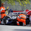 June 1: Sebastian Saavedra crashes during the Chevrolet Detroit Belle Isle Grand Prix.