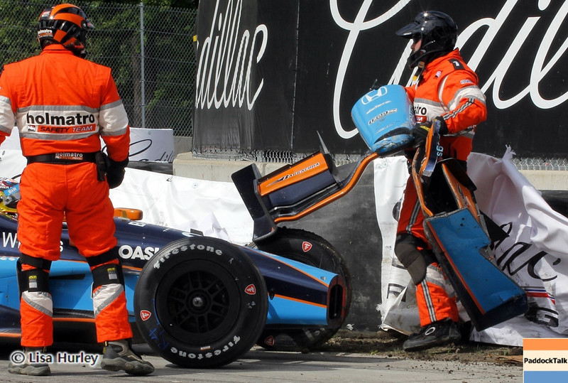 June 1: Alex Tagliani crashes during the Chevrolet Detroit Belle Isle Grand Prix.