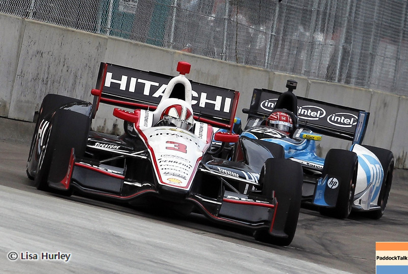 June 1: Helio Castroneves and Simon Pagenaud during the Chevrolet Detroit Belle Isle Grand Prix.