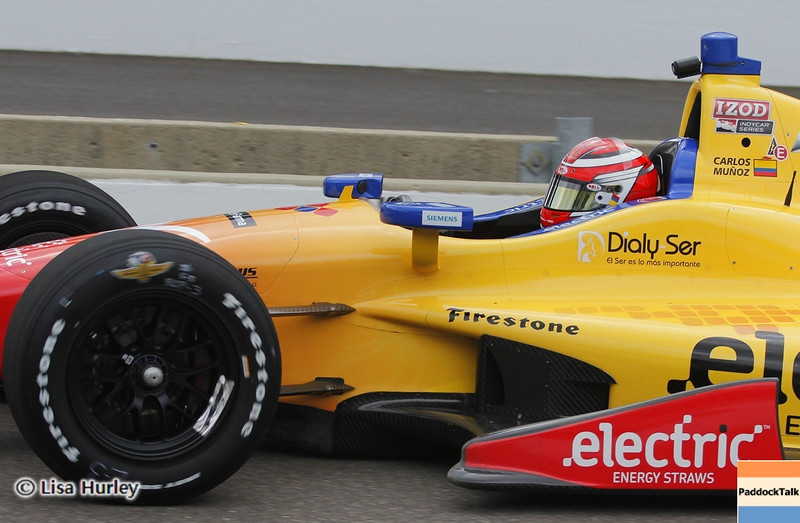 May 11: Carlos Munoz during practice for the 97th Indianapolis 500 at the Indianapolis Motor Speedway