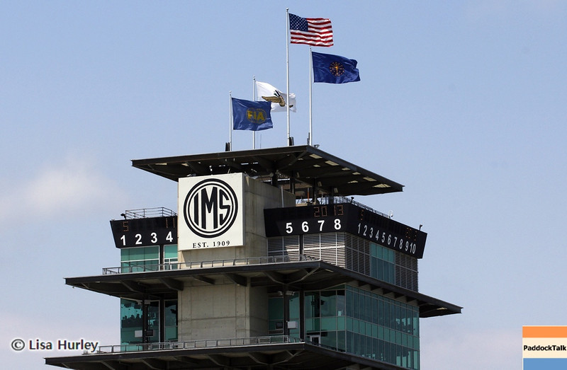 May 11: The pagoda during practice for the 97th Indianapolis 500 at the Indianapolis Motor Speedway