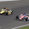 May 26: Oriol Servia and Takuma Sato during the 97th running of the Indianapolis 500 Mile Race.