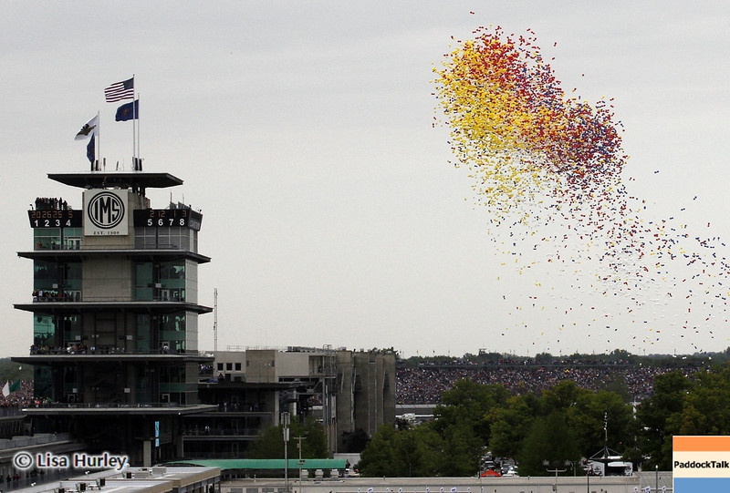 May 26: The pagoda and balloons before the 97th running of the Indianapolis 500 Mile Race.