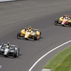 May 26: Tony Kanaan takes the lead during the 97th running of the Indianapolis 500 Mile Race.