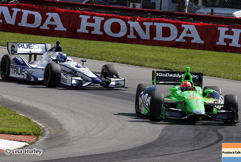 August 3: Sebastian Saavedra and James Hinchcliffe during qualifying at The Honda Indy 200 at Mid-Ohio.