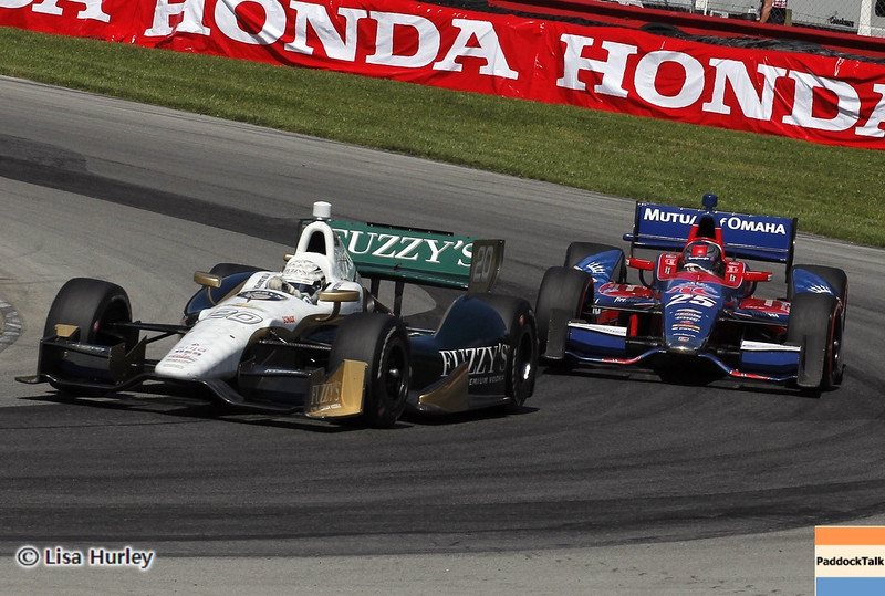 August 4: Ed Carpenter and Marco Andretti during the race at The Honda Indy 200 at Mid-Ohio.