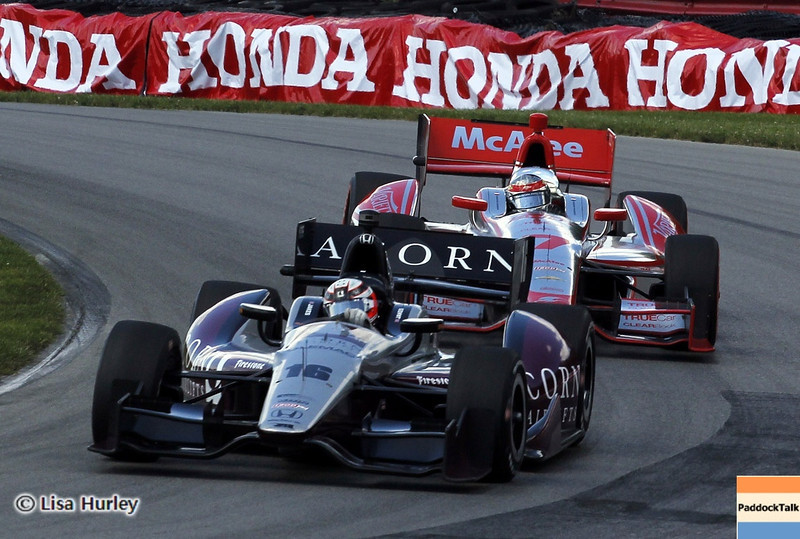 August 4: James Jakes and Sebastien Bourdais during the race at The Honda Indy 200 at Mid-Ohio.