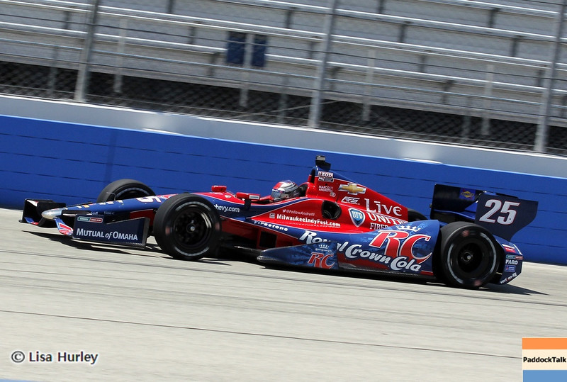 Marco Andretti has taken the 2013 IndyCar Pole at Milwaukee.