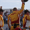 June 15: Ryan Hunter-Reay's team celebrates after the Izod IndyCar race at the Milwaukee Mile.
