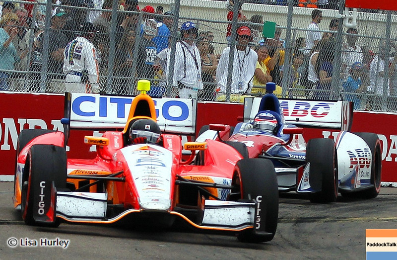 MARCH 24: EJ Viso and Takuma Sato during the IndyCar race at the Honda Grand Prix of St. Petersburg