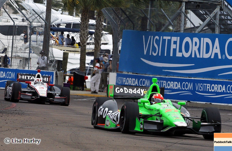 MARCH 24: James Hinchcliffe and Helio Castroneves during the IndyCar race at the Honda Grand Prix of St. Petersburg