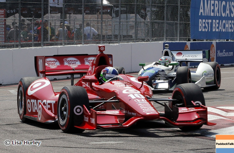 MARCH 23: Dario Franchitti and Simona de Silvestro at IndyCar qualifying at the Honda Grand Prix of St. Petersburg