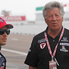 MARCH 23: Marco Andretti and Mario Andretti at IndyCar qualifying at the Honda Grand Prix of St. Petersburg