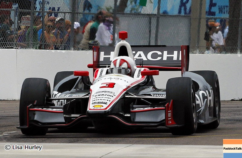 MARCH 24: Helio Castroneves during the IndyCar race at the Honda Grand Prix of St. Petersburg