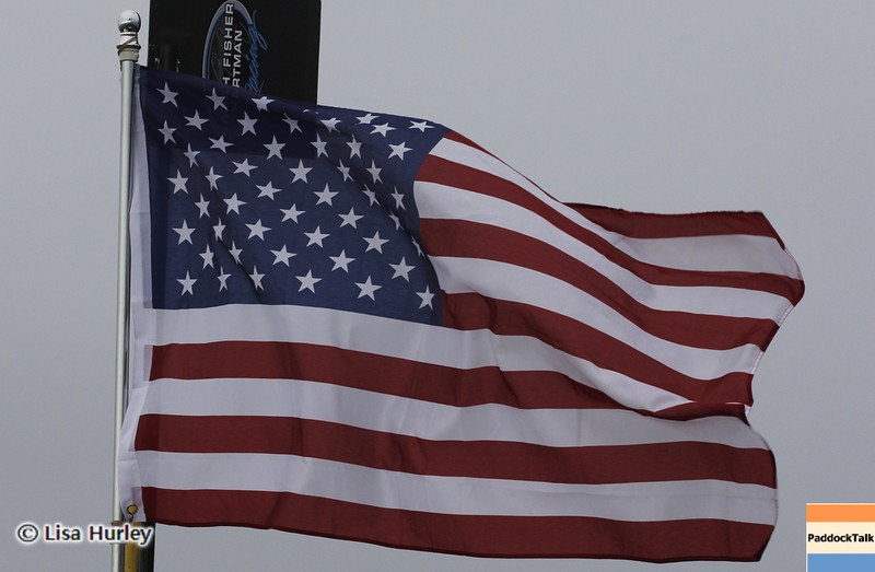 MARCH 23: US flag at IndyCar qualifying at the Honda Grand Prix of St. Petersburg