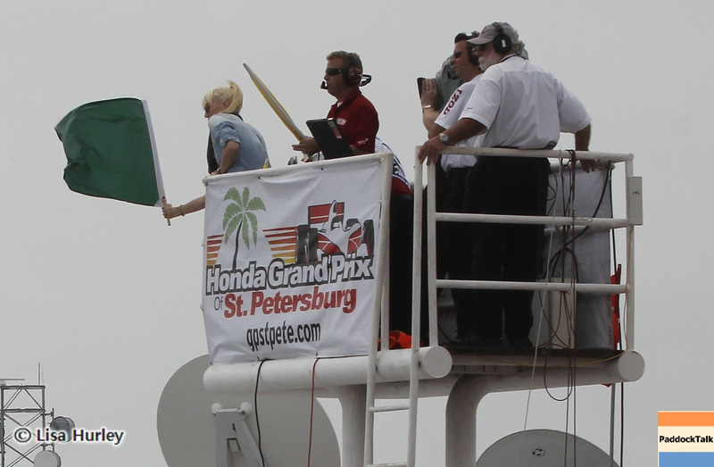 MARCH 24: Susie Wheldon waves the green flag for the IndyCar race at the Honda Grand Prix of St. Petersburg