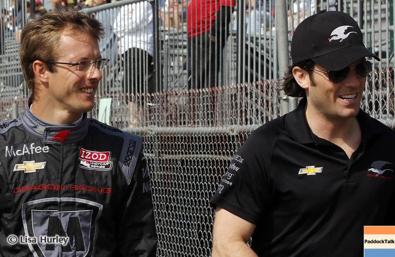 MARCH 22: Sebastien Bordais and Jay Penske at IndyCar practice at the Honda Grand Prix of St. Petersburg.