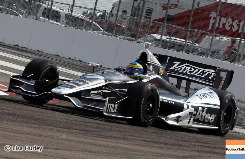 MARCH 22: Sebastien Bourdais at IndyCar practice at the Honda Grand Prix of St. Petersburg.