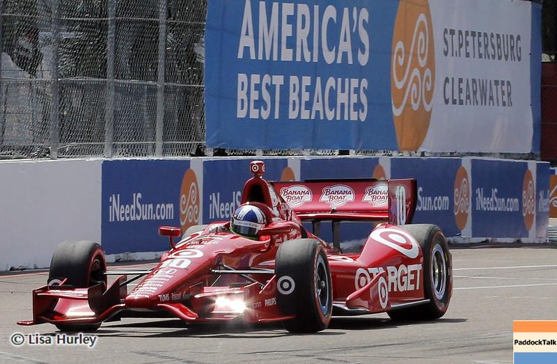 MARCH 23: Dario Franchitti at IndyCar qualifying at the Honda Grand Prix of St. Petersburg