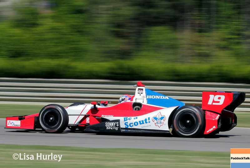 April 26: Justin Wilson during qualifying for the Honda Indy Grand Prix of Alabama