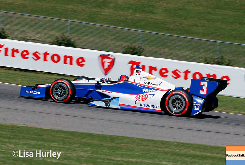 April 26: Helio Castroneves during qualifying for the Honda Indy Grand Prix of Alabama