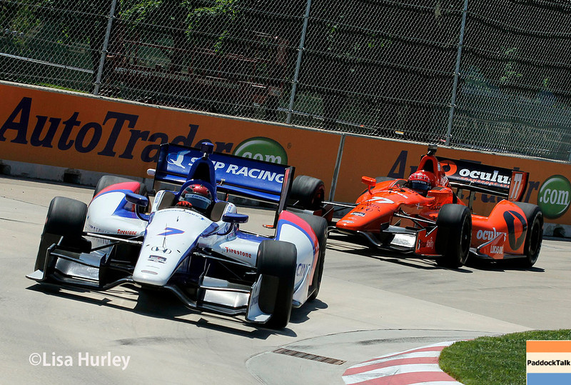 May 30: Mikhail Aleshin and Simon Pagenaud during practice for the Chevrolet Detroit Belle Isle Grand Prix.
