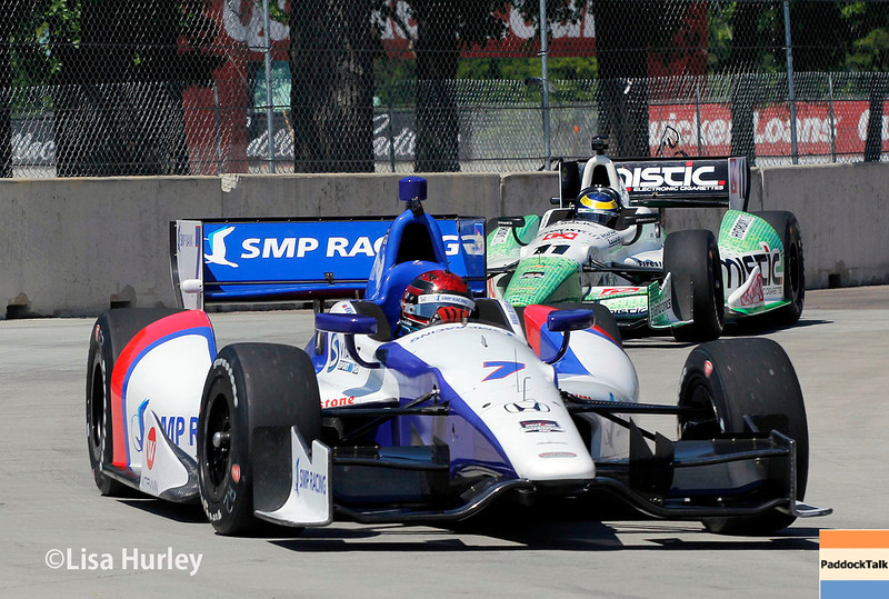 May 30: Mikhail Aleshin and Sebastien Bourdais during practice for the Chevrolet Detroit Belle Isle Grand Prix.