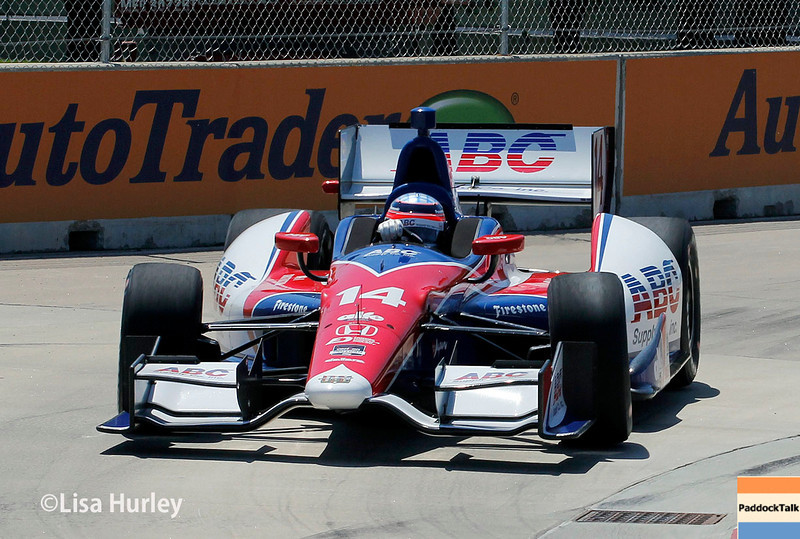 Takuma Sato and his No. 14 Honda IndyCar took the Pole for the second race of the Chevrolet Indy Dual In Detroit with a track record lap of 1:16.1371.