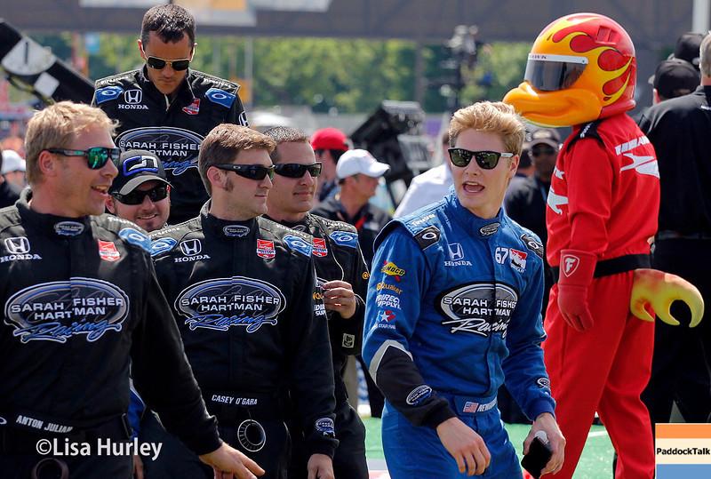 June 1: Josef Newgarden and team before Race 2 of the Chevrolet Detroit Belle Isle Grand Prix.