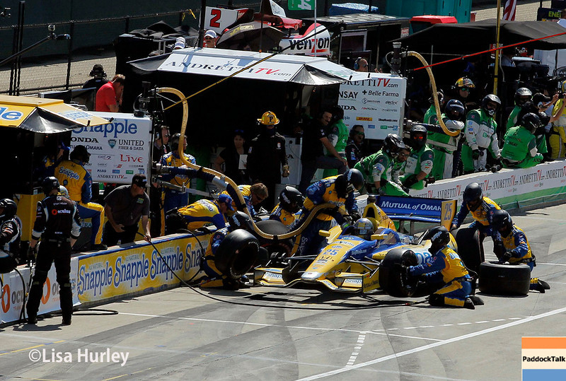 June 1: Marco Andretti pit stop during Race 2 of the Chevrolet Detroit Belle Isle Grand Prix.